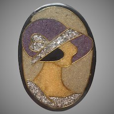 Flapper Pin Vintage Composite Glitter Inlay 1920s Style Lady In Hat