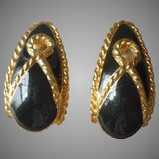1980s Trifari Vintage Heavy Big Pierced Earrings Black Enamel Gold Tone