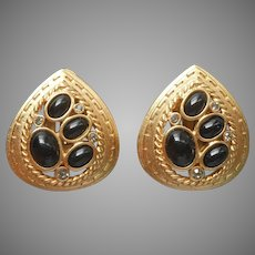 Oscar De La Renta ca 1990 Earrings Vintage Clip Matte Gold Black Glass Stones