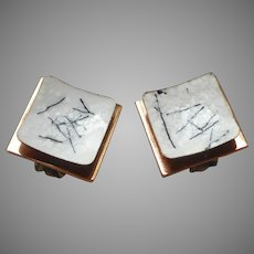 Renoir Matisse 1950s Copper Enamel Clip Earrings Black White