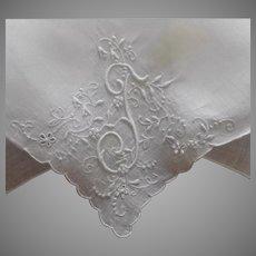 Monogram T Madeira Hankie Vintage Unused Linen Has Faint Spot