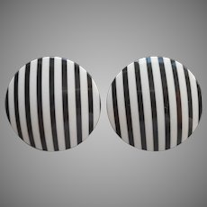 1980s Big Black White Striped Pierced Earrings Vintage Curved Discs