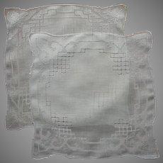 Vintage Hankies Pair Linen Drawn Work Unused Hankie Handkerchief