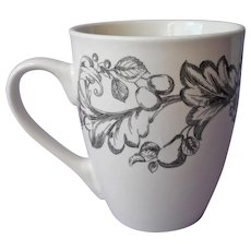 Royal Norfolk Mug Black White Leafy Scrolls Fruit Flowers