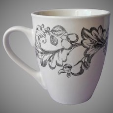Royal Norfolk Mug Black White Leafy Scrolls Fruit Flowers