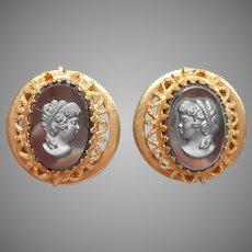 Hematite Finish Black Glass Cameo Earrings Vintage Clip Gold Tone