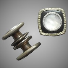 1920s Snap Link Cufflinks Black Celluloid Mother Of Pearl Silver Tone