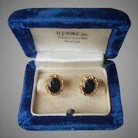 Gold Filled Onyx Earrings Screw Back Vintage Petite Rope Twist Frames
