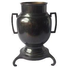 Japanese Bronze Vase Usubata Ikebana Blackened Finish Vintage 3 Legged