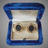 Gold Filled Onyx Earrings Screw Back Vintage