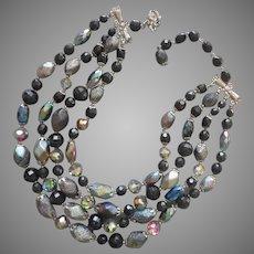 1950s Glass 4 Strand Bead Necklace Vintage Black Gray Silver