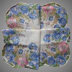 Blue Roses Hankie Printed Cotton Unused Label Handkerchief