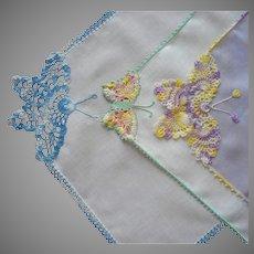 Butterfly Crocheted Lace Trim Hankies Hankie Butterfly Vintage Handkerchief