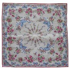 Blue Bows Pink Flowers Vintage Unused Hankie Label Handkerchief