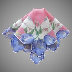 Blue Tulips Pink Vintage Hankie Printed Cotton Handkerchief