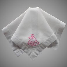 Grace Embroidered On Vintage Hankie Handkerchief Pink Southern Belle