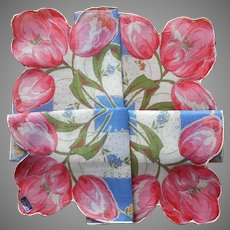 Pink Tulips Blue Unused Vintage Hankie Printed Cotton Handkerchief
