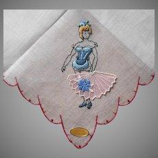 Fan Dancer Hankie Vintage Risque Novelty Handkerchief Unused Label