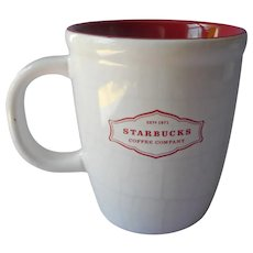 Starbucks Mug Craquelure Faux Crazing Deep Pink Lining Retired