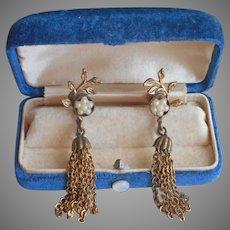 Victorian Revival Vintage 1950s Earrings Tassel Faux Pearl Screw Back