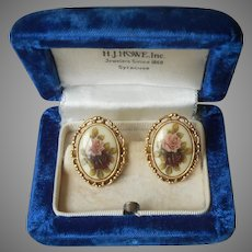 1928 Jewelry Co. Company Earrings Pierced Porcelain Roses Wine Mauve Vintage