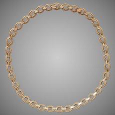 Crown Trifari Necklace Baguette Rhinestones Brushed Gold Tone Links Collar