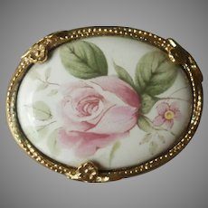 1928 Jewelry Co.  Company Pin Porcelain Pink Roses