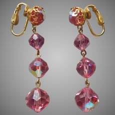 Pink Cut Crystal Earrings Vintage Clip Dangle AB Finish Gold Tone