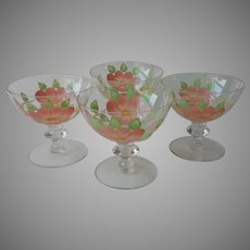 Desert Rose Franciscan Imperial Glass Hand Painted Sherbet Champagne Vintage Glasses Dishes