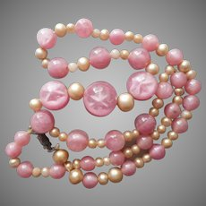 Pink Glass Star Effect Beads Necklace Vintage 1920 to 1930s TLC To Restring