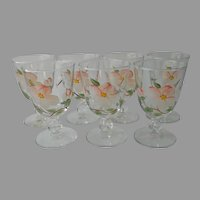 Desert Rose Franciscan Libbey Glass Hand Painted Footed Water Glasses Tumblers Wine