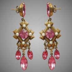 Vintage Pierced Dangle Earrings Pink Rhinestones Faux Pearls Victorian Revival
