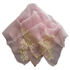 1920s Pink Silk Creped Chiffon Scarf Lace Hankie Vintage
