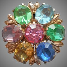 1940s Dress Clip Bright Pastel Glass Stones Gold Tone Round