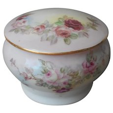 Hand Painted Roses Antique China Vanity Powder Jar A Bit TLC