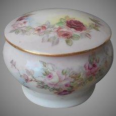 Hand Painted Roses Antique China Vanity Powder Jar A Bit TLC