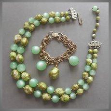 Moonglow Thermsoset Green Beads Necklace Bracelet Set Vintage TLC Needed