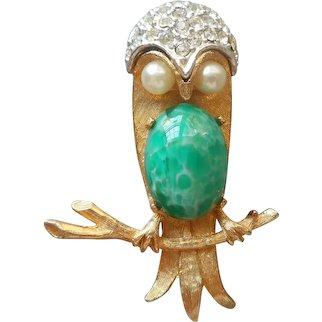 1960s Owl Pin Vintage Peking Glass Faux Jade Belly Rhinestones Faux Pearls