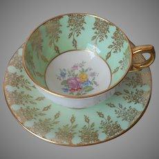 English Bone China Cup Saucer Pale Green Lots Of Gold Vintage Pink Rose Windsor