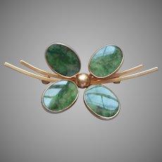 Gold Filled Jade Pin Vintage 4 Leaf Clover
