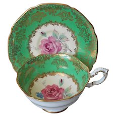 Paragon Cup Saucer Green Gold Pink Rose Vintage English Bone China