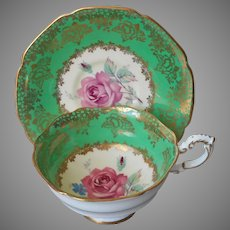 Paragon Cup Saucer Green Gold Pink Rose Vintage English Bone China