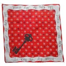 Valentine Hankie Vintage Unused Key To My Heart Valentine's Day Handkerchief