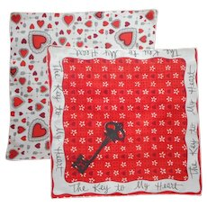 Valentine Hankie Hankies Vintage Unused Key To My Heart Valentine's Day Handkerchief