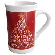 Royal Norfolk Mug Christmas Red Lettered Tree Joy Peace Family