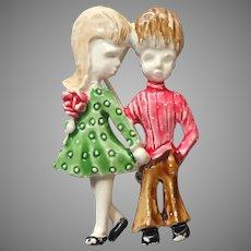 1960s Gerry's Pin Boy Girl Vintage Painted Metal Blonde Flip Girl Beatles Haircut Boy
