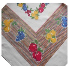Printed Tablecloth Square Vintage Kitchen Primary Colors Fruit Stripes