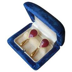 1970s Red Enamel Earrings Screw Back Vintage Dangle