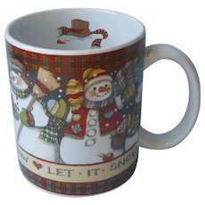 Lang And Wise 1997 Christmas Mug Let It Snow Susan Winget Vintage