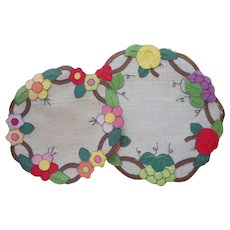 Appliqued 1920s Arts Crafts Doilies Vintage Flowers Fruit Bright On Grasscloth